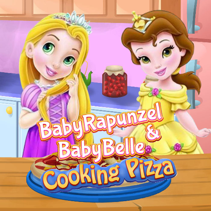 Baby Rapunzel & Baby Belle Cooking Pizza